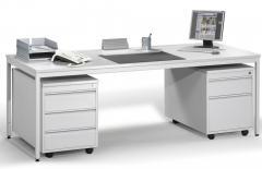 SET individuele werkplek BASE LINE lichtgrijs   2000   met 2 rolcontainers