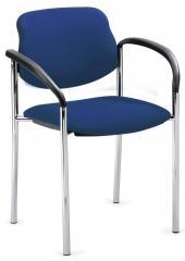 Bezoekersstoel FLORA I blauw   inclusief armleggers   verchroomd