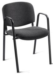 Bezoekersstoel ISO inclusief armleggers - onderstel zwart