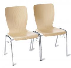 Bezoekersstoel JARA beukdecor   zonder armleggers   verchroomd   inclusief