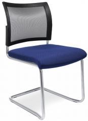 Bezoekersstoel LAS VEGAS blauw   stof met netweefsel