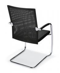 Bezoekersstoel RIVA S rug met net, zit gepolsterd zwart   stof met netweefsel