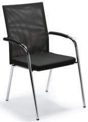 Bezoekersstoel RIVA 4 zwart | stof met netweefsel