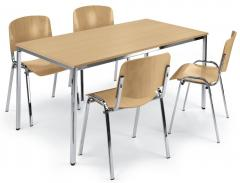 SET: 4x ISO hout en universele tafel