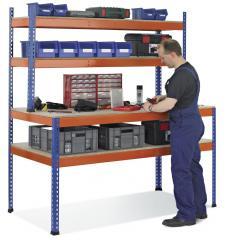 Werktafel met aflegborden inclusief rek met 2 legborden