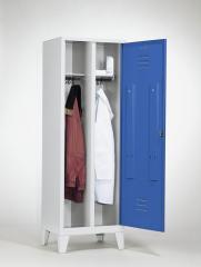 Garderobekasten CLASSIC - 2 afdelingen, 1 afsluiting, met pootjes