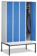 Garderobekasten CLASSIC met gladde deuren en ondergebouwde zitbank