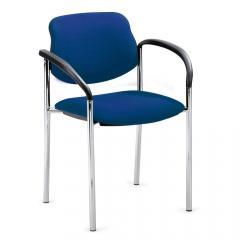 Bezoekersstoel FLORA I blauw | inclusief armleggers | verchroomd