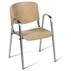 Bezoekersstoel ISO beukenhout beuk | inclusief armleggers | verchroomd