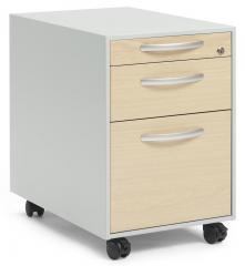 Verrijdbaar ladeblok DELTAFLEXX esdoorndecor   600   Schubladenfront Holz   2 Schübe + Hängeregister-Auszug