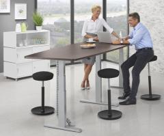 Zit-/sta vergadertafel - bootvormig hoogteverstelbaar