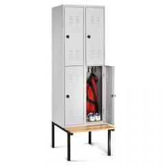 Garderobekasten COLOR met dubbele afdelingen - met ondergebouwde zitbank
