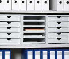 Set kunststof ladeboxen lichtgrijs | 3 Boxen, offene Schübe