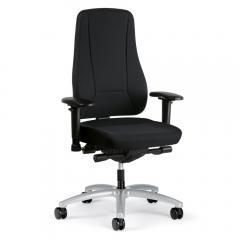 Bureaustoel UNIQUE met hoge rugleuning zwart | hohe Rückenlehne | aluzilver