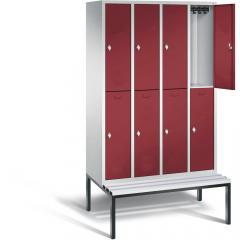 Garderobekasten CLASSIC met dubbele afdelingen, gladde deuren en ondergebouwde zitbank met kunstsof latjes
