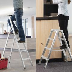 Aluminium trapladders, enkel- of dubbelzijdig begaanbaar