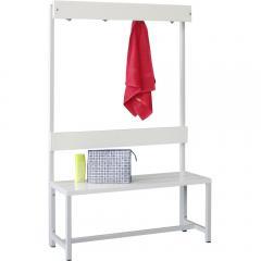 Enkelzijdige garderobe-zitbank lichtgrijs RAL 7035 | 1000 | enkelzijdige garderobebank | zonder schoenenrooster