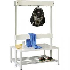 Dubbelzijdige garderobe-zitbank lichtgrijs RAL 7035 | 1000 | dubbelzijdige garderobebank | zonder schoenenrooster