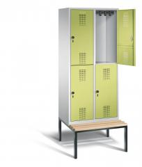 Doppelstöckige Garderobenspinde EVOLO mit Sitzbank