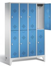 Garderobekasten CLASSIC met dubbele afdelingen, verluchtingsperforaties en pootjes
