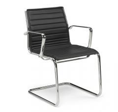 Bezoekersstoel CORTEO zwart | echt leder