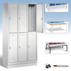 Garderobekasten CLASSIC met dubbele afdelingen, gladde deuren en pootjes