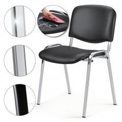 Bezoekersstoel ISO - kunstleder, 3 ondersteelkleur