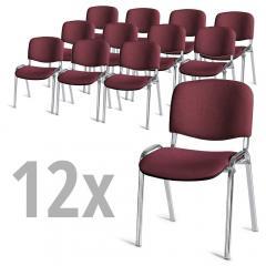 Set van 12 bezoekersstoelen ISO bordeaux | verchroomd