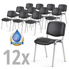 12 bezoekersstoelen ISO in SET Kunstleder,2ondersteelkl.