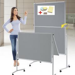 Presentatiebord PROFESSIONELL incl. set toebehoren textiel grijs - tweezijdig | klapbaar
