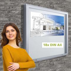 Vitrinekast voor buiten 18 x DIN A4 posterformaat 18 x DIN A4
