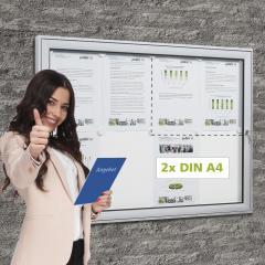 Vitrinekast voor buiten 2 x DIN A4 posterformaat 2 x DIN A4