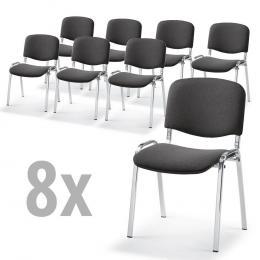 8 Bezoekersstoelen ISO in SET, 3 ondersteelkleur