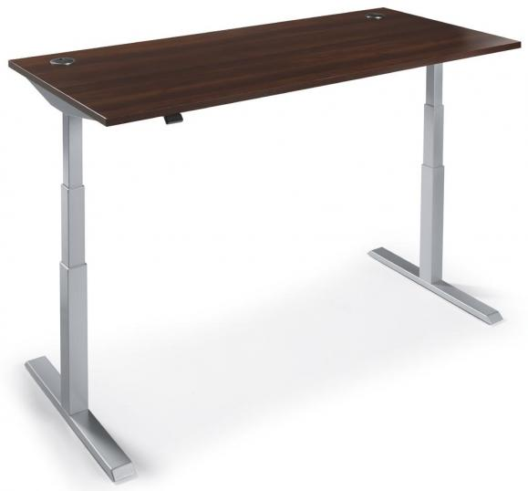Zit-/sta tafel MANAGEMENT 2 nootdecor donker | 1600