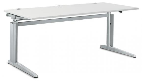 Zit-/sta bureautafel PROFI MODUL wit | 1600 | rechthoek
