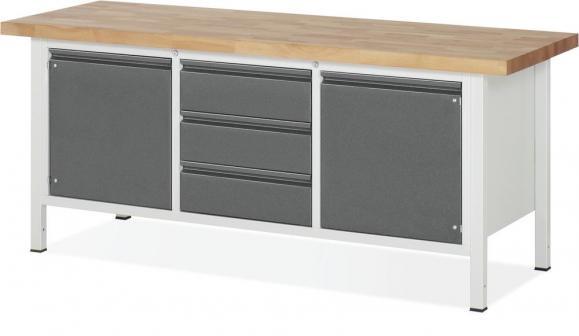 Werkbanken met 3 lades 180 mm, 2 draaieuren 540 mm met telkens 1 legbord antraciet metallic