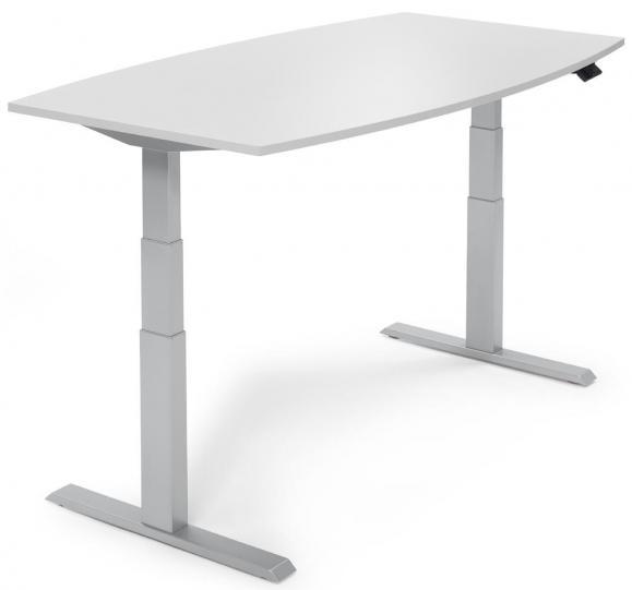 Zit-/sta vergadertafel - elektrisch hoogteverstelbaar lichtgrijs | 2000 | aluzilver RAL 9006