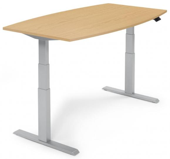 Zit-/sta vergadertafel - elektrisch hoogteverstelbaar beukdecor | 2000 | aluzilver