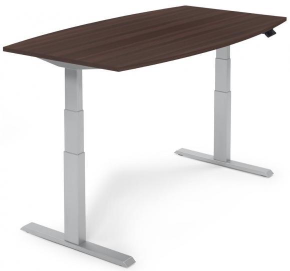 Zit-/sta vergadertafel - elektrisch hoogteverstelbaar wenge | 2000 | aluzilver RAL 9006