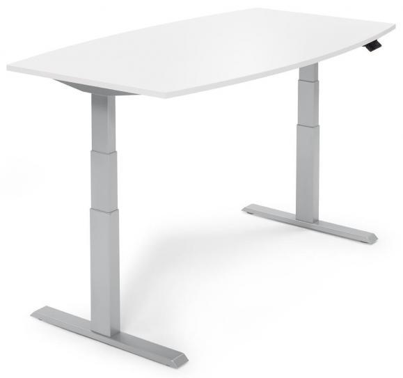 Zit-/sta vergadertafel - elektrisch hoogteverstelbaar wit | 2000 | aluzilver