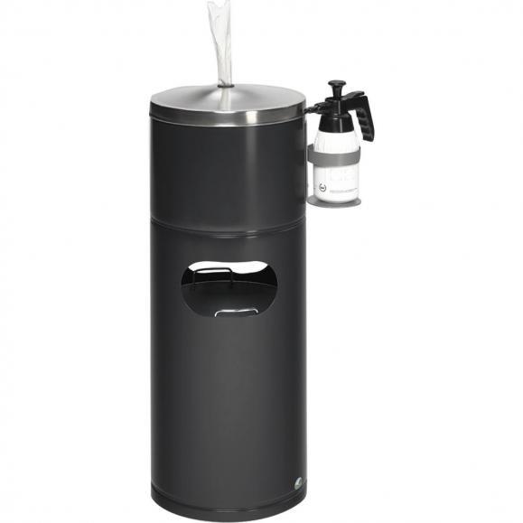 Desinfecteringsstation met flessenhouder zwartgrijs RAL 7021 | geen