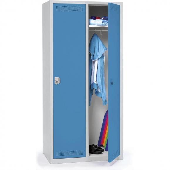 Stalen garderobekast SP PROFI SYSTEM lichtblauw RAL 5012 | 400 | 2 | haak- en oogslot | zonder onderbouw