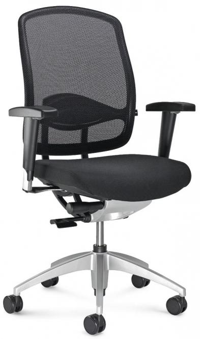 Bureaustoel MATTEGO met armleggers zwart/zwart | verstelbare armleggers | aluzilver | geen