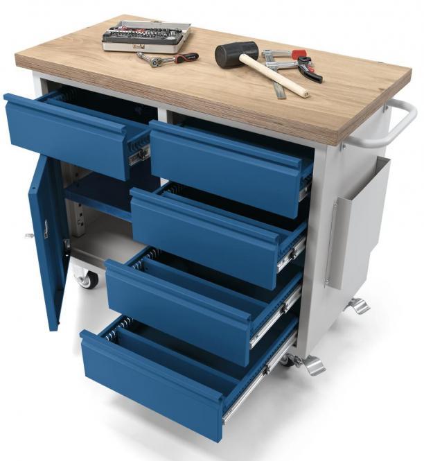mobiele werkbanken WS PROFI werkplaatssysteem 1 Tür / 5 Schubladen | Multiplex-Platte