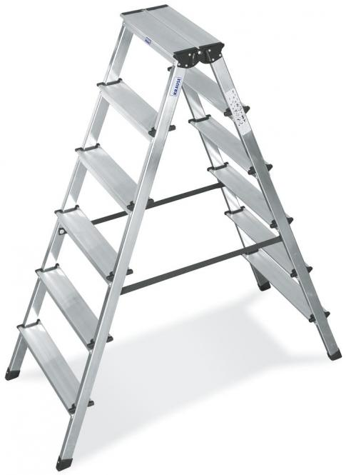 Aluminium dubbele trap 2 x 6 treden