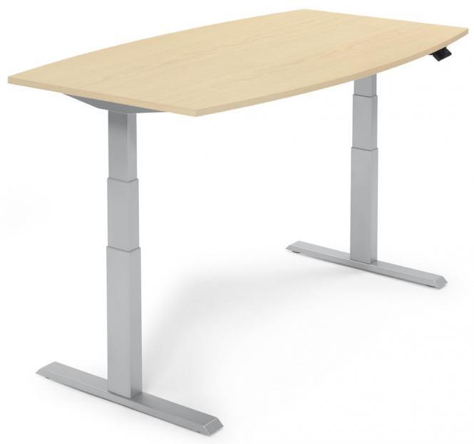 Zit-/sta vergadertafel - elektrisch hoogteverstelbaar esdoorndecor   2000   aluzilver