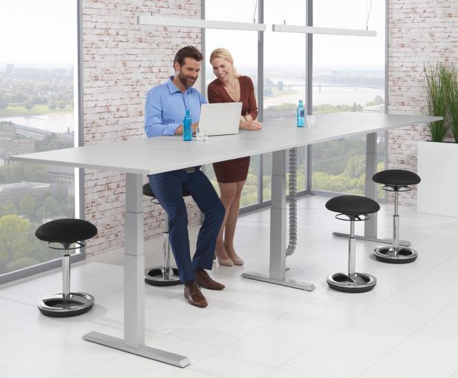Zit-/sta vergadertafel - rechthoekig, hoogteverstelbaar