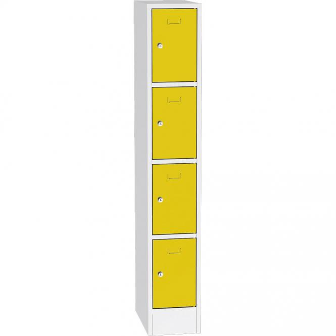 Stalen lockerkast SYSTEM SP1 COLOR verkeersgeel RAL 1023 | 250 | 1 | cilinderslot | 4