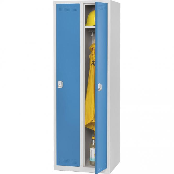 Stalen garderobekast SP PROFI SYSTEM lichtblauw RAL 5012   300   2   haak- en oogslot   zonder onderbouw