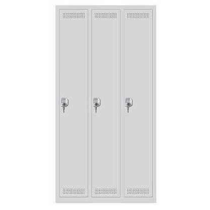 Metalen garderobekast SP PROFI SYSTEM lichtgrijs RAL 7035 | 300 | 3 | cilinderslot | zonder onderbouw